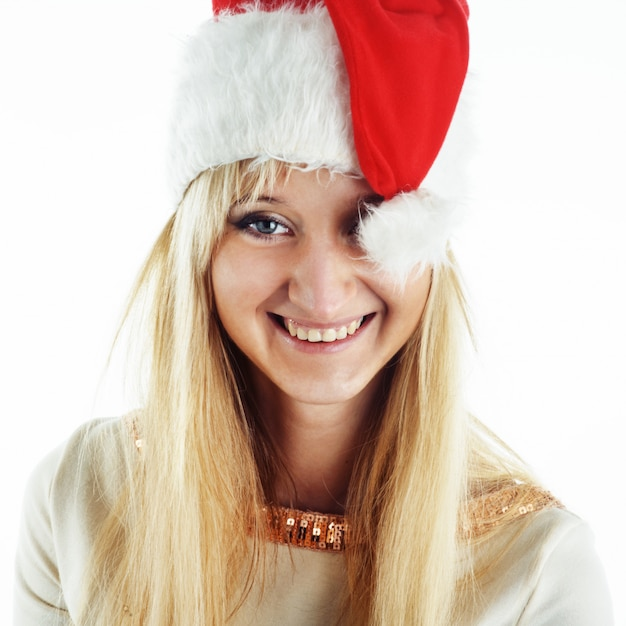 Рождество девушка на белом Premium Фотографии
