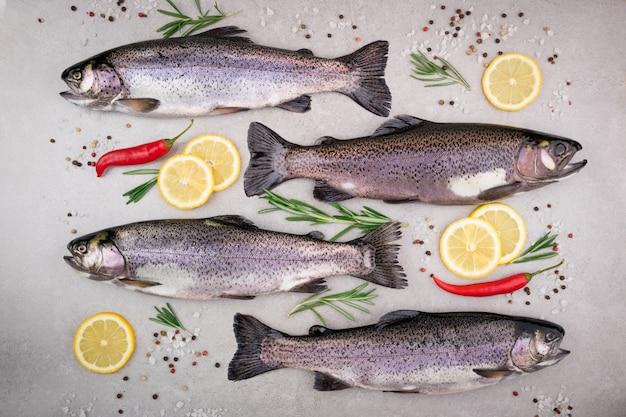 塩、レモン、ローズマリー、スパイス、ハーブと灰色の背景を持つマス魚 Premium写真