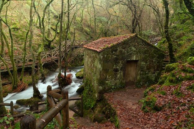 Река валга - река провинции понтеведра, галисия, испания. Premium Фотографии