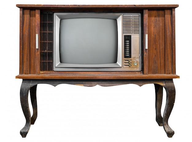 ビンテージテレビ - オブジェクトのクリッピングパスを白で隔離されるアンティーク木製ボックステレビ。 Premium写真