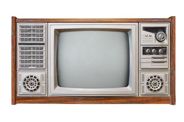 オブジェクトのクリッピングパスを白で隔離されるアンティーク木製ボックステレビ Premium写真
