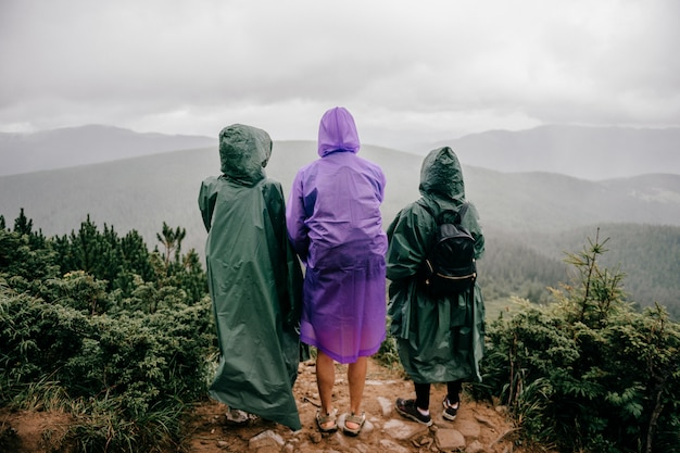 レインコートを着た旅行者の会社が山の上に立ちます。雨の霧の夏の日に自然の景色を楽しんでいる友人。 Premium写真