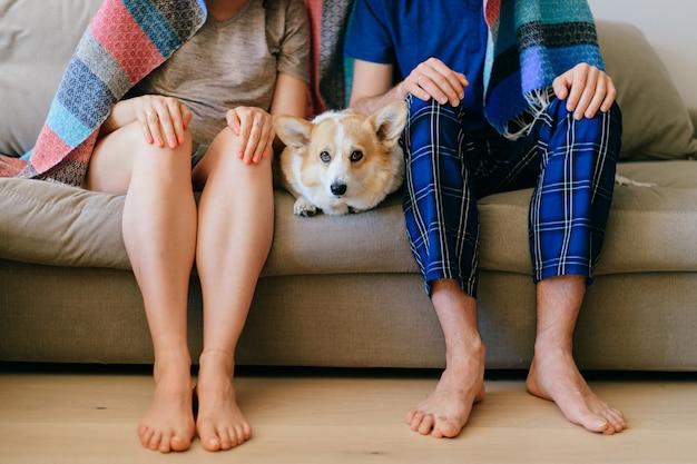 頭と犬コーギーのない男女の肖像画 Premium写真