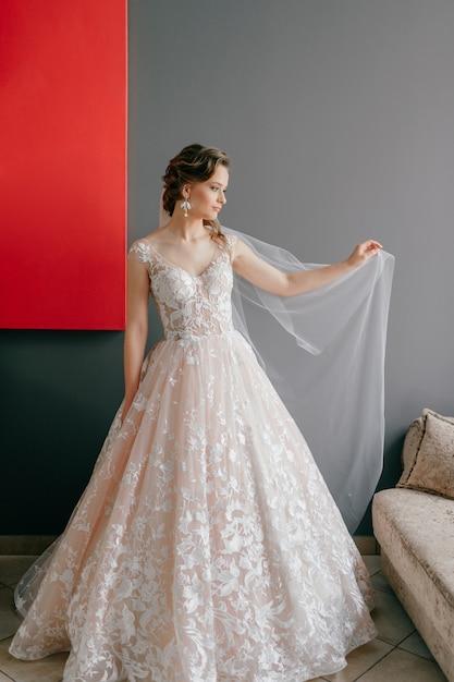壁に赤い絵のベールの下でポーズをとって白いヴィンテージのドレスで美しい花嫁の肖像画 Premium写真