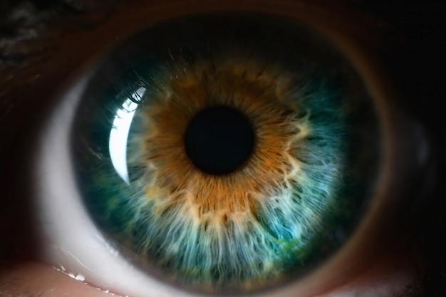 ブルーオレンジの人間の目は背景を閉じます。 Premium写真