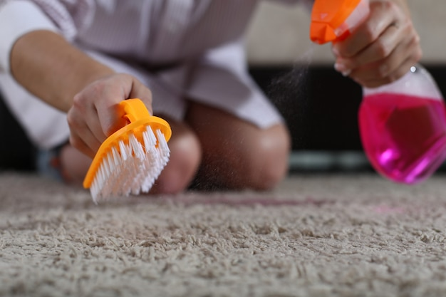 女性はカーペットの上にブラシとクリーニングスプレーを保持します Premium写真