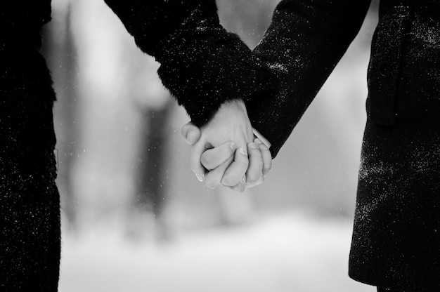 冬の雪の日に若いカップルが大好き Premium写真