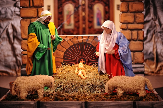 クリスマス降誕ベビーベッドセット Premium写真