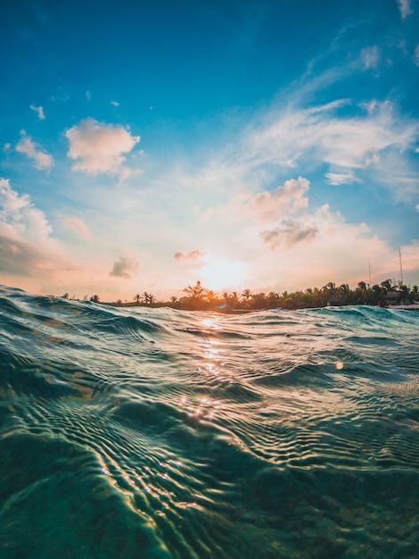 カリブ海の夕日 Premium写真