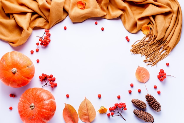 黄色のスカーフ、葉、パステル調の背景に赤い果実と秋の組成 Premium写真