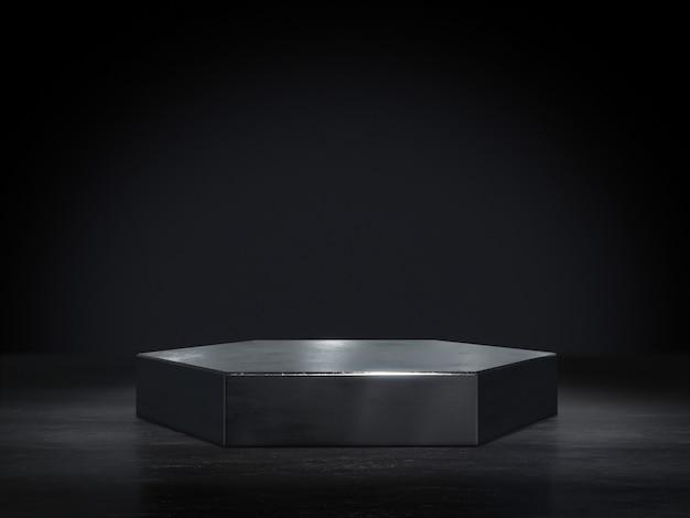 Металлический постамент для дисплея, платформа для дизайна, пустой продуктовый стенд. Premium Фотографии