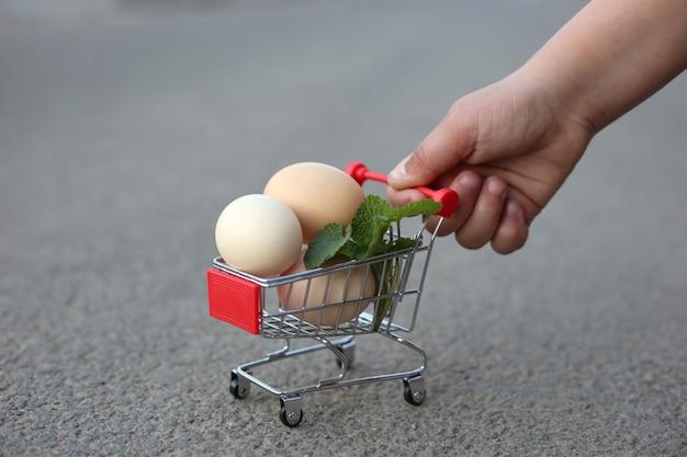 手がスーパーマーケットからミニトロリーを卵で転がしている。 Premium写真