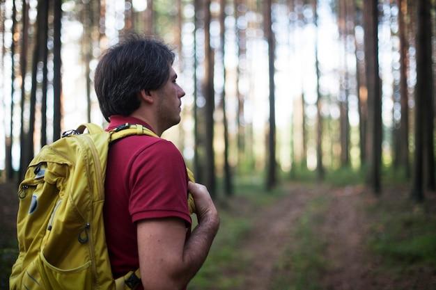 ハイカー-森でのハイキングの男。森を歩く側にいる男性のハイカー Premium写真