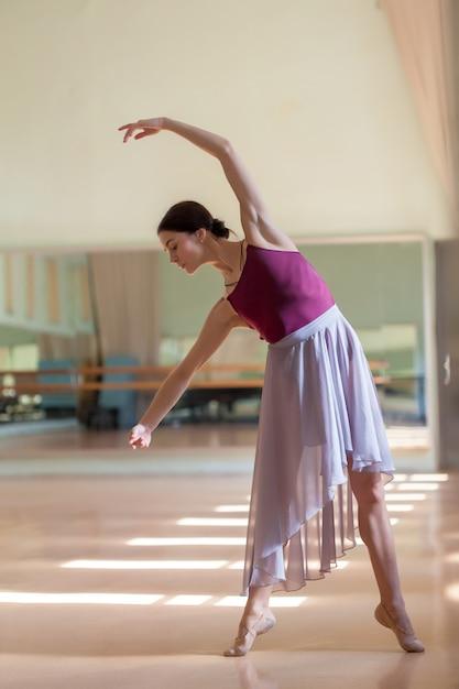 リハーサルルームでバレでポーズクラシックバレエダンサー 無料写真