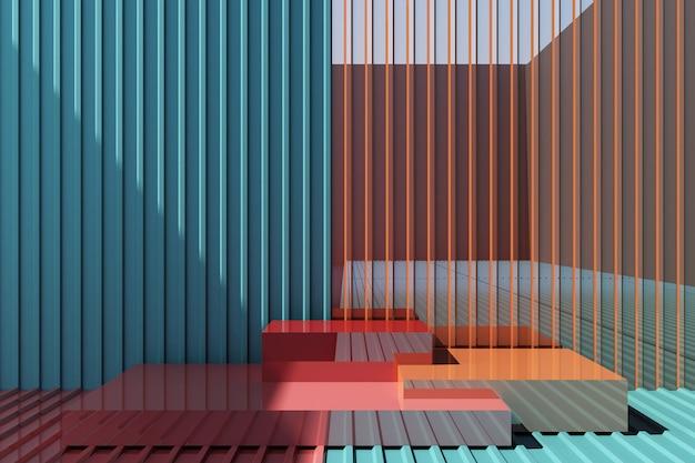 Стенд красочный продукт с цветной металлический фон Premium Фотографии