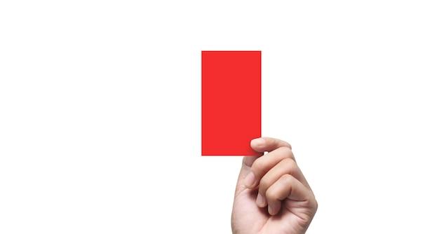 Рука рефери держа красные карточки. изолированные Premium Фотографии