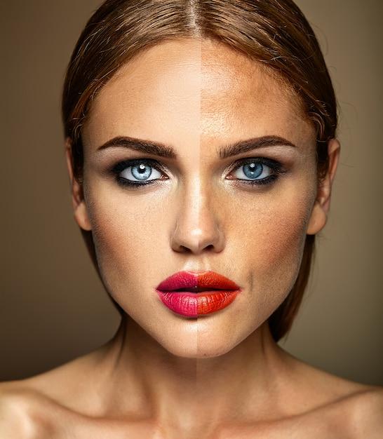 Портрет красивой модели женщины, до и после ретуши Бесплатные Фотографии