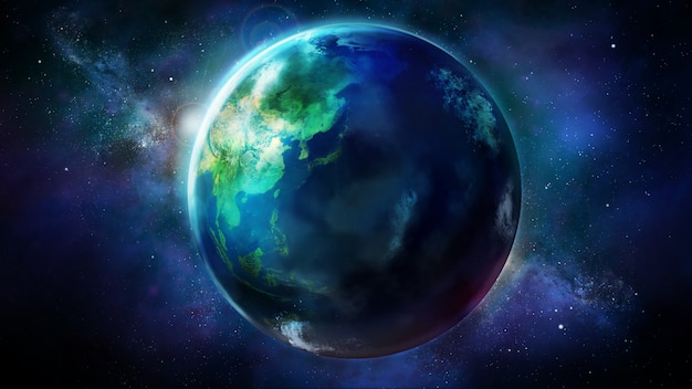 アジア、オセアニア、オーストラリアを示す宇宙から見た地球の半日 Premium写真