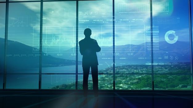 Силуэт трейдера в офисе перед инфографикой Premium Фотографии