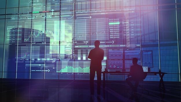 トレーダーは証券取引所の状態を監視します Premium写真