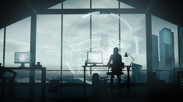 Женщина работает дома за компьютером. Premium Фотографии