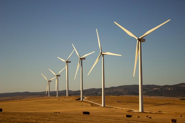 風車のある風景 無料写真
