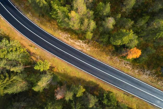 日の出でイタリアの森の道の空撮 Premium写真