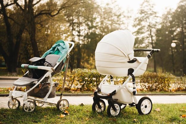 Прогулка с младенцами в осенних парках. две коляски на природе Premium Фотографии