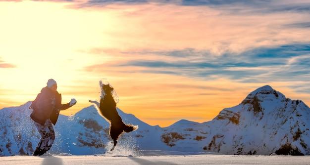 雪の中でボーダーコリーで遊ぶ女の子 Premium写真
