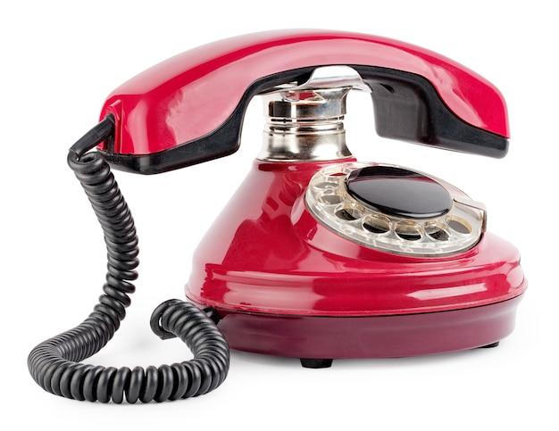 Красный старый телефон с диском Premium Фотографии