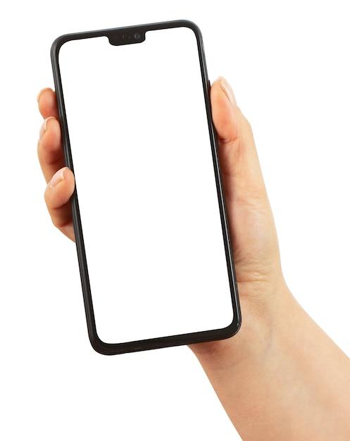 空白の画面と黒のスマートフォンを持っている手 Premium写真