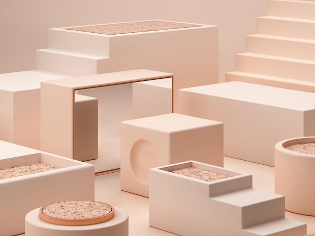 Кремовые цвета фигуры на пастельных тонах абстрактный фон. минимальные коробки подиума. Premium Фотографии