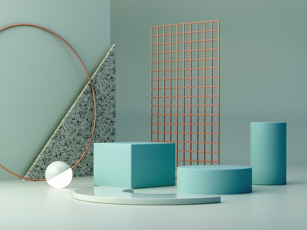 青いパステルカラーのパステルカラーの図形は、背景を抽象化します。最小限のボックス表彰台。 Premium写真