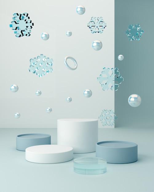 空の表彰台と幾何学的形態の冬景色。幾何学的形状 Premium写真