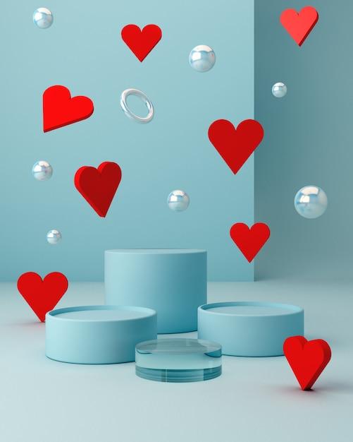 空の表彰台を持つ幾何学的な形のサンバレンタインのシーン。幾何学的形状 Premium写真