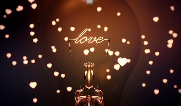 白熱愛の言葉。書き込みと電球。 Premium写真