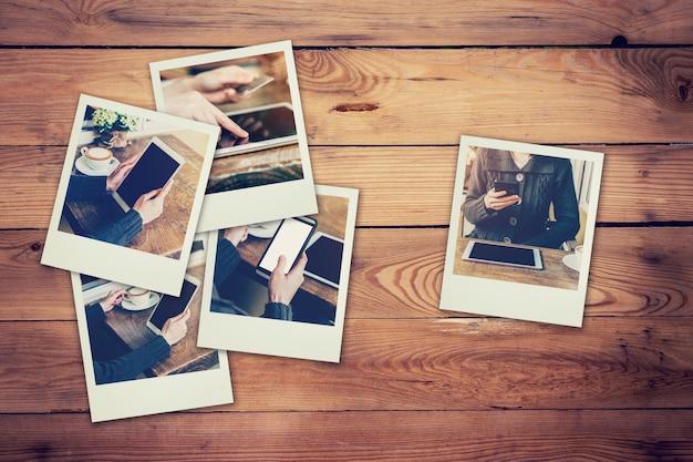 フレームの写真女性は、テーブルと木の背景にコーヒーショップのコンセプトに設定されている電話とタブレットを使用しています。ヴィンテージフィルター。 Premium写真
