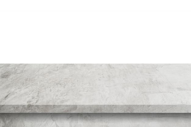 コピースペースと製品の表示モンタージュで孤立した白い背景の空のセメントテーブル。 Premium写真
