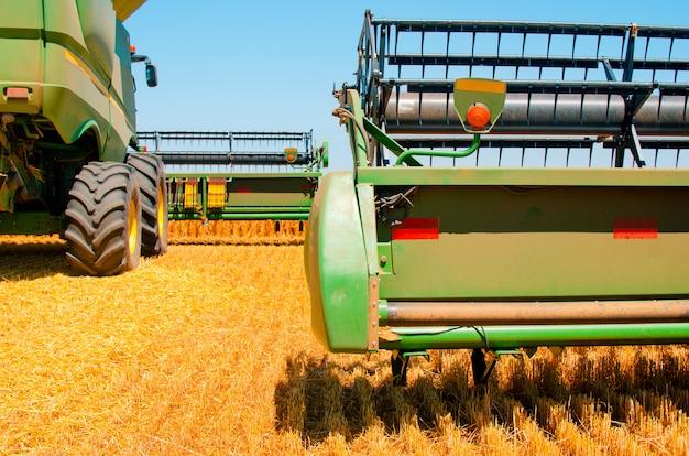 農業機械は晴れた明るい日にオープンフィールドで黄色い小麦の収穫を収集します Premium写真