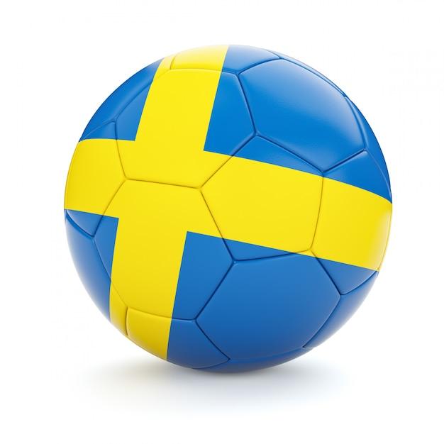 Футбольный мяч с флагом швеции Premium Фотографии