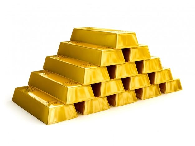 金の延べ棒ピラミッド Premium写真
