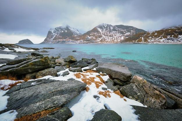 Скалистое побережье фьорда в норвегии Premium Фотографии