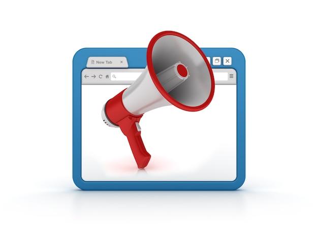 Интернет-браузер с мегафоном Premium Фотографии