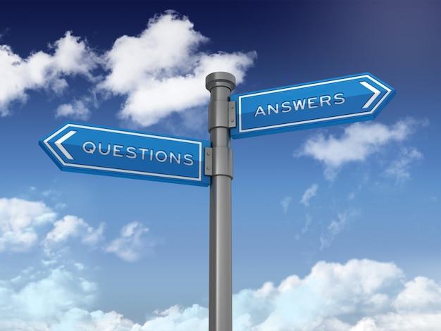 Направленный знак с вопросами и ответами на голубом небе Premium Фотографии