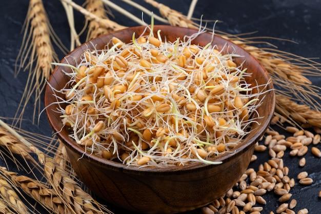 Целые ростки пшеницы. сырая, веганская, вегетарианская здоровая пища. крупный план. Premium Фотографии