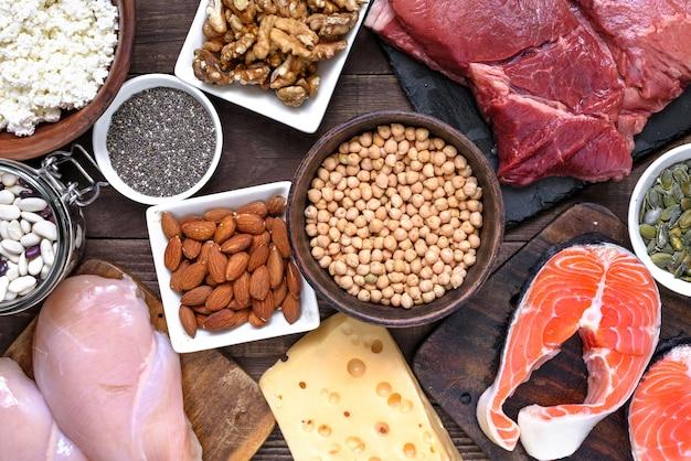 肉、鶏肉、卵、乳製品、ナッツ、豆などのタンパク質を豊富に含む自然食品。健康食品とダイエットのコンセプト Premium写真