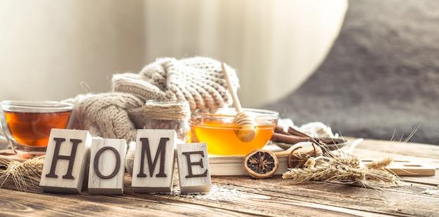Натюрморт домашнего уюта с чашкой чая Бесплатные Фотографии
