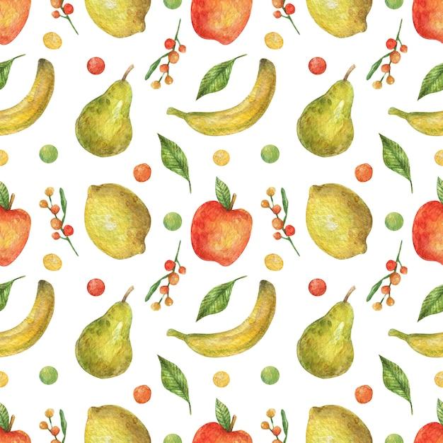 明るい果物(リンゴ、バナナ、梨、レモン)の水彩のシームレスなパターン。健康食品。ビーガンビタミン。 Premium写真