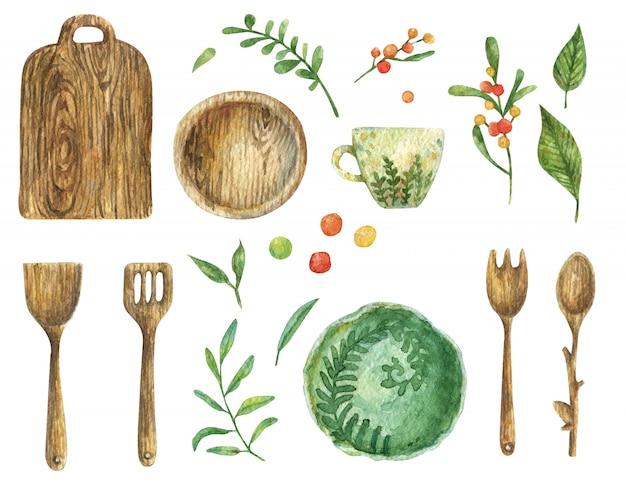 木製食器(プレート、シャベル、スプーン、フォーク)の水彩セット。キッチンツール。子宮頸部のグリーンプレートと白いカップ。葉と果実の枝。 Premium写真