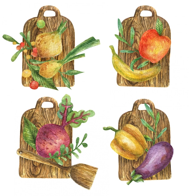 木製のまな板に野菜(ビート、玉ねぎ、ナス、ピーマン)と果物(バナナ、リンゴ)の水彩イラスト。健康食品。ビタミン。ロゴタイプ。 Premium写真